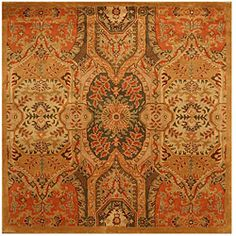 @Overstock - Hand-tufted Piazza Wool Rug (6' Square) - Hand-tufted from 100-percent premium wool, this rug features an intricate Oriental pattern. Vibrant hues of olive, beige and salmon highlight this gold rug.  http://www.overstock.com/Home-Garden/Hand-tufted-Piazza-Wool-Rug-6-Square/5656804/product.html?CID=214117 $161.49