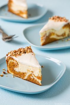 Two of my favorite cakes come together to make the ultimate spring dessert, this decadent carrot cake cheesecake. If you like carrot cake or cheesecake, Spring Desserts, Desserts To Make, Dessert Recipes, Easter Desserts, Carrot Cake Cheesecake, Cheesecake Desserts, Almond Cheesecake Cone Recipe, Cheesecake Calories, Gateaux Cake