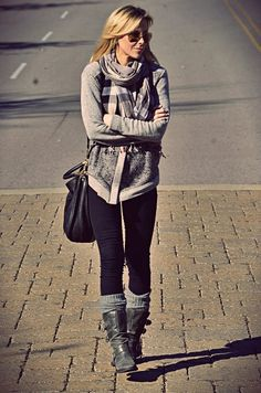 gray sweater scarf black pants leggings boots socks handbag black sunglasses spring style clothing women fashion apparel outfit