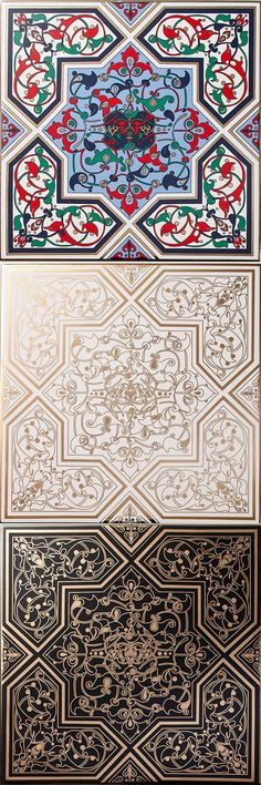 These Arabesque Jamiliah Tiles take on an ornamental design style using interweaving floral motifs inspired by nature, with rich colourways and liquid gold adornment for the ultimate luxury finish. These stunning elegant tiles will add style and personality into any interior projects. Jamiliah means Beautiful.                                                                                                                                                     More