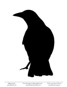 Crow Stencils Crows Drawing, Crow Silhouette, Bird Outline, Memes Arte, Wood Burning Stencils, Bird Template, Fall Clip Art, Bird Stencil, Halloween Scarecrow
