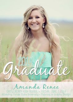 Senior Graduation Announcement 2014 - digital, photo, 2014, cute, graduate, modern, class of 2014, turquoise on Etsy, $14.00
