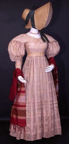 FC0320 printed coton dress, probably English made, with Canadian provenance, early 1830s