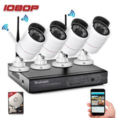 Yeskam Security Camera System 1080P HD Wireless IP Cameras and 4 Channel NVR Recorder with Motion Activated Mobile App Remote View for Outdoor Home Surveillance with 1TB Hard Drive