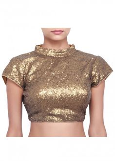 Gold sequence blouse featuring in chinese collar only on Kalki