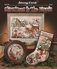 Stoney Creek Collection Christmas in the Woods - Cross Stitch Pattern. Includes Winter Wonderland Stocking - stitched on 28 Ct. Sand Castle Jobelan. Stitch Coun