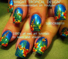 New Spring Nail Art tutorial up!!! Lots of Trendy Tropical Nail ideas up today on my blog! Click to see a rainbow of vacation designs!