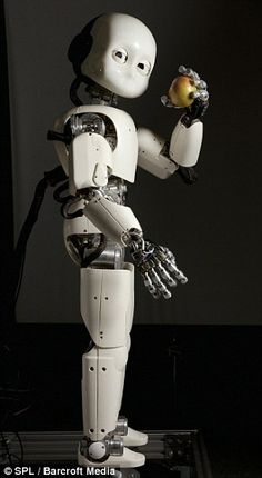The iCub robot photographed while holding an apple in Bristol is one of a range of new generation humanoids being developed
