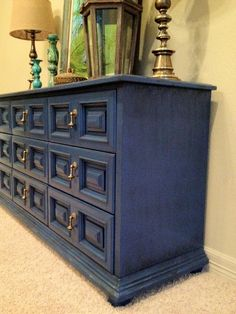 My dresser in blue - I like the metallic idea better. Vintage Stormy Blue Dresser/Buffet/Media Console Quality Construction by Drexel Original Hardware L x H x W 70s Furniture, Refurbished Furniture, Furniture Makeover, Painted Furniture, Blue Dresser, Entertainment Table, Interiores Design, Decoration, Home Projects