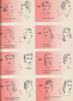 1940s correct hairstyles for the 5 basic types   vintage 40s hair + beauty