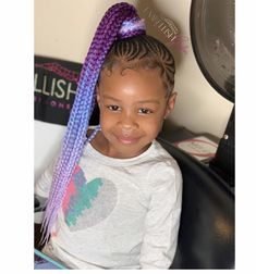Colorfull braided hairstyle for black hair kids 55 Birthday Hairstyles, Lil Girl Hairstyles, Black Girl Braided Hairstyles, Black Kids Hairstyles, Natural Hairstyles For Kids, African Braids Hairstyles, Little Girl Braids, Black Girl Braids, Braids For Black Hair