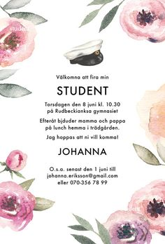 Inbjudningskort till student, studentkort, kort student, inbjudan, studentfest - Lilly is Love Forest Wedding Invitations, Pool Party Invitations, Rustic Invitations, Wedding Invitation Design, Invitation Cards, Invites, Woodsy Wedding, Trendy Wedding, Wedding Card Design