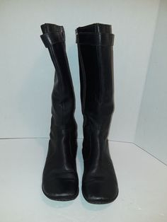 13dab0ccb01 BORN Boots Womens Black Leather Upper Mid Calf Zip Up Pull On W Strap US6