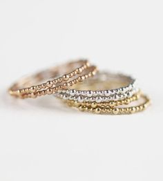 #Capri #Jewelers #Arizona ~ www.caprijewelersaz.com  ♥ Tri-color stackable rings.