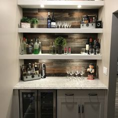 Kitchen Decor PlankandMill Reclaimed Barnwood Peel and Stick Wall Paneling in Mixed Gray/Brown Home Bar Design, Coffee Bar Home, Home Bar Designs, Small Bars For Home, Basement Remodeling, Kitchen Remodel, Home Remodeling, Diy Home Bar, Bars For Home