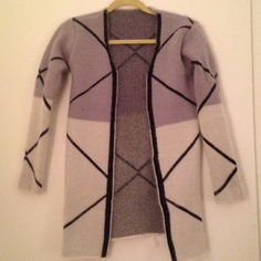Women's Check Printed Cardigan Fuzzy cardigan in tonal greys with a oversized black checked pattern Sweaters Cardigans