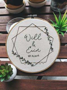 Customizable name wedding gift! This is such a unique, thoughtful gift for any e. Customizable name wedding gift! This is such a unique, thoughtful gift for any engaged couple for t Name Embroidery, Wedding Embroidery, Embroidery Hoop Art, Hand Embroidery Patterns, Embroidery Stitches, Broderie Simple, Name Wall Decor, Thoughtful Gifts, Creations