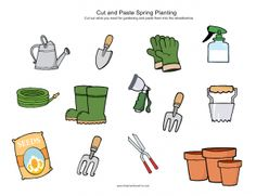 Cut and paste spring gardening ~ Printables, Summer Worksheets Printable Activities For Kids, Kindergarten Activities, Summer Activities For Kids, Preschool, Summer Worksheets, Cut And Paste Worksheets, Spring Plants, Spring Garden, Garden Plant Markers