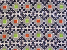 Vintage Feedsack Fabric Grey Atomic Geometric