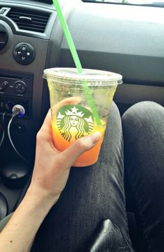 #starbucks #car #awesome #green #orange juice