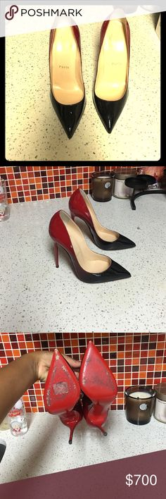 Worn once Ombré pigalles These shoes have been worn once, patent leather black and red 120mm heel, size 36 Christian Louboutin Shoes Heels