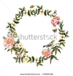 Vintage watercolor wreath with flowers and birds. Illustration for greeting cards, invitations, and other printing projects. by Yudina Anna,...