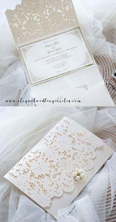 super elegant lace pocket wedding invitations in pearl white #ewi #weddinginvitations