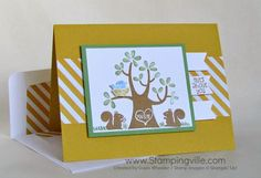Simple masculine anniversary card by Stampingville with Stampin' Up! Nuts About You stamp set.