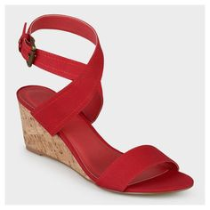 Women's Journee Collection Womens Canvas Ankle Strap Wedges - Red 8.5