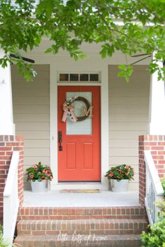 front porch coral door little bits of home Summer Front Porches, Screened In Porch, Porch Swing, Building Raised Garden Beds, Building A Porch, Simple Porch Designs, Yard Design, House Design, Coral Door