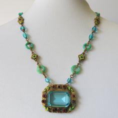 A Vintage Art Deco Czech Glass and Enamel Necklace.
