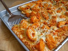 "Buffalo Chicken Pizza - replace dough w/ cauliflower pizza ""dough"" and use ff cheese"