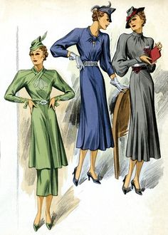 30s Fashion Three Dresses – Art PrintArt Deco evolved during the 1920s and 1930s. The earlier style was geometric, but by the 30s the forms were streamlined, meaning that they were sleeker, more aerodynamic but, in fashion, also more form-fitting than the waist-less 20s. Both men's and women's fashion show the grace and elongation of this later development.