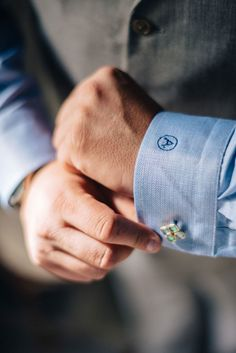 Blue monogrammed cuff with aqua cuff links. @myweddingdotcom