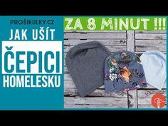 Jak ušít ČEPICI (homelesku) za 8 minut! Šití pro ZAČÁTEČNÍKY 2019 - YouTube Beanie Hats, Beanies, Sewing Elastic, Sewing Patterns Free, Couture, Pattern Paper, Sewing Projects, Knitting, Crochet