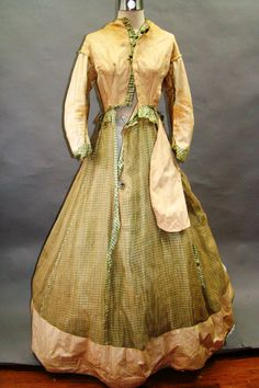 Mid to Late 1860's Green Checked Dress
