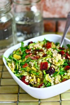 brussels sprouts with bacon, dried cherries and israeli couscous - this could totally be lunch!!