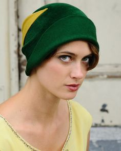 Green Cloche - vintage yellow detail- made to order. $450.00, via Etsy.