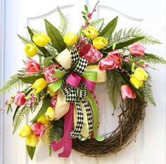 A personal favorite from my Etsy shop https://www.etsy.com/listing/514085913/spring-wreath-front-door-wreath-for