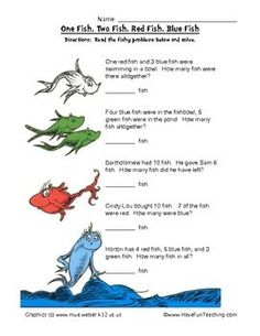 Dr. Seuss Math Worksheet: Read the fishy problems below and solve. How Many Altogether