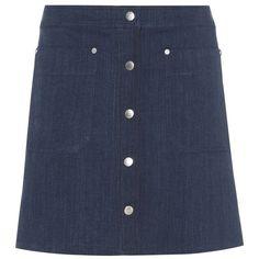 Rag & Bone Siggy Denim Miniskirt (2.829.690 IDR) ❤ liked on Polyvore featuring skirts, mini skirts, blue, short blue skirt, denim mini skirt, short denim skirts, denim miniskirt and mini skirt