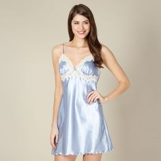 This plain blue satin chemise from Presence has cream lace trims to the bust with a bow and diamante charm detail to the centre front and adjustable straps. Satin Lingerie, Pretty Lingerie, Lingerie Sets, Satin Slip, Blue Satin, Feminine Style, Nightwear, Frocks, Lace Trim