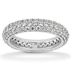 This Shimmering Pave Diamond Eternity Wedding Band Is Masterfully Set With Round Diamonds Of G/H Color And Clarity. Available In Mulitiple Carat Weights In Your Choice Of & White, Yellow Or Rose Gold, Platinum and Palladium Wedding Band Styles, Wedding Band Sets, Diamond Wedding Bands, Wedding Rings, Wedding Stuff, Wedding Ideas, Wedding Fun, Trendy Wedding, Gold Wedding