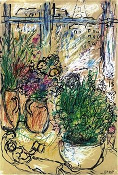 Marc Chagall - Amoreux aux Fleurs, 1965. Brush and ink, pen and ink, pastel and gouache on board