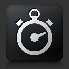 Black Square Button with Stop Watch Icon vector art illustration