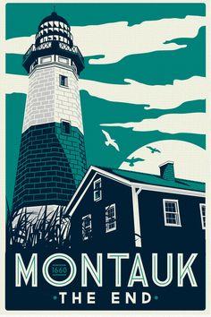 Montauk Light House Retro Vintage beach by RetroScreenprints, $24.99