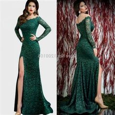 b953efd58a Olive Green Mermaid Long Sleeve Lace Prom Dress 2018