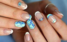 Nail-art: Blue Mandala Spring nails short by 'Tartofraises'♥•♥•♥