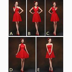 Mix & Match Dresses Short/Mini Chiffon and Lace 5 Styles Bridesmaid Dresses (2840151) – USD $ 29.99