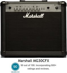 "Marshall MG30CFX Guitar Amplifier. 30-Watt Amp - 1x10"" Speaker - 4 Programmable Channels - Built-in Effects (Phaser, Chorus, Delay, Flanger, Reverb) - Speaker emulated Line out - 3-Band EQ - Headphones Output - Aux Input. With a street price of $199.99 this is currently one of the Highest Rated Guitar Amps Under $200 - for more information see https://www.gearank.com/guides/cheap-guitar-amps"